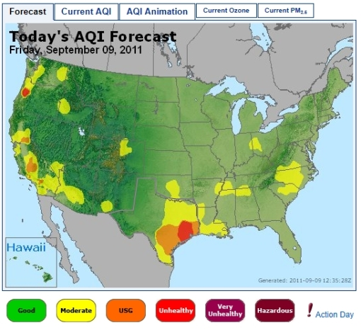 Air Quality Index Forecast_for_9-9-2011