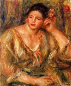madeleine-leaning-on-her-elbow-with-flowers-in-her-hair-1918